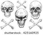 a set of human skulls with... | Shutterstock .eps vector #425160925