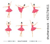 set of ballet dancers poses....   Shutterstock .eps vector #425176411