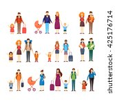 people travel with children ... | Shutterstock .eps vector #425176714