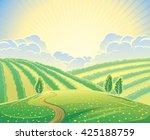 summer rural landscape with... | Shutterstock .eps vector #425188759