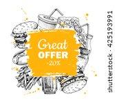 vector vintage fast food... | Shutterstock .eps vector #425193991