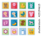 set of baby icons on blue... | Shutterstock .eps vector #425194615