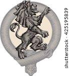 heraldic lion and belt. vector... | Shutterstock .eps vector #425195839
