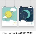 sun  moon and stars. day and... | Shutterstock .eps vector #425196751