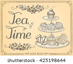 illustration with the words tea ... | Shutterstock .eps vector #425198644