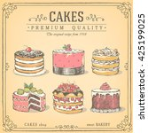 set of hand drawn cakes. bakery ... | Shutterstock .eps vector #425199025