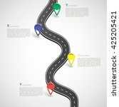 road infographic with colorful... | Shutterstock .eps vector #425205421