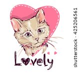 Stock vector love cats cat kitten cute cat sketch vector illustration print design cat 425206561