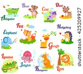 cute animal alphabet for abc... | Shutterstock . vector #425209927
