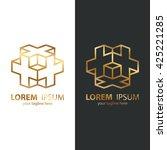 Gold Isometric Cube Logo Desig...