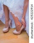 bride dresses wedding shoes   Shutterstock . vector #425222914