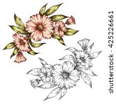 hand drawn graphic floral... | Shutterstock .eps vector #425226661