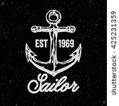 anchor. hand drawn vintage logo.... | Shutterstock .eps vector #425231359
