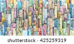 city landscape sketch. hand... | Shutterstock .eps vector #425259319