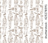 fashion pattern with words ... | Shutterstock . vector #425278591
