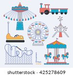 colorful amusement park or... | Shutterstock . vector #425278609