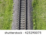 Railway Top View. Railroad And...