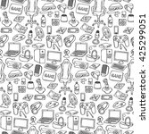 hand drawn gamer seamless... | Shutterstock .eps vector #425299051