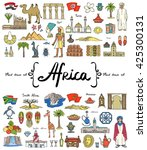 vector set with hand drawn... | Shutterstock .eps vector #425300131
