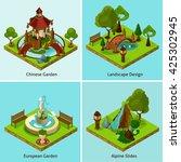 isometric 2x2 chinese garden... | Shutterstock .eps vector #425302945