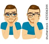young crying sad man on two... | Shutterstock .eps vector #425306344