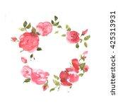 watercolor wreath of roses.... | Shutterstock . vector #425313931