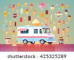 flat vector ice cream icons and ... | Shutterstock .eps vector #425325289