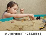 sand therapy. the child playing ... | Shutterstock . vector #425325565