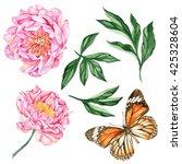 set of watercolor hand painted... | Shutterstock . vector #425328604