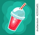 cartoon smoothie to go cup with ... | Shutterstock .eps vector #425331601