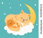 Cute Cat And Kitten Sleeping O...