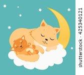 Cute Cat And Kitten Sleeping O...