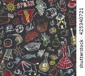 spain doodles seamless pattern... | Shutterstock .eps vector #425340721