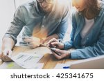 photo sales manager working... | Shutterstock . vector #425341675