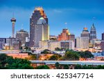 san antonio  texas  usa skyline. | Shutterstock . vector #425347714