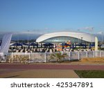 Beach Club on the seafront and ice hockey stadium in the Olympic Park Sochi, Russia, July 15, 2015 - stock photo