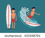 cool vector surfer character in ... | Shutterstock .eps vector #425348701