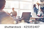 startup team at work. big open... | Shutterstock . vector #425351407