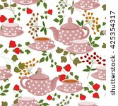 seamless pattern with teapots ...   Shutterstock .eps vector #425354317