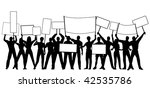silhouettes of people holding... | Shutterstock . vector #42535786