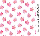 lily flowers seamless pattern... | Shutterstock . vector #425365411