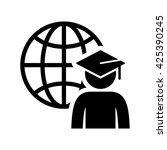 world graduating cap student... | Shutterstock .eps vector #425390245