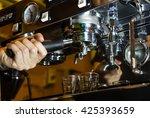 hand of barista working with... | Shutterstock . vector #425393659