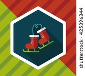 ski boot flat icon with long... | Shutterstock .eps vector #425396344