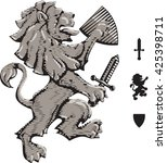 the heraldic lion holds a board ... | Shutterstock .eps vector #425398711