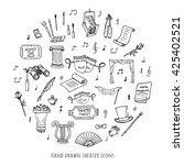 hand drawn doodle theatre set... | Shutterstock .eps vector #425402521
