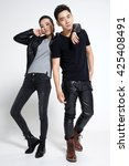 fashion young men and women | Shutterstock . vector #425408491