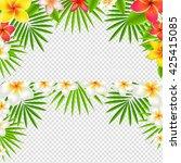 tropical frangipani borders set ... | Shutterstock .eps vector #425415085
