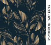 tropical palm leaves. seamless... | Shutterstock . vector #425418781