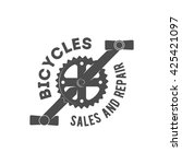 vintage bicycle shop logo badge ... | Shutterstock .eps vector #425421097